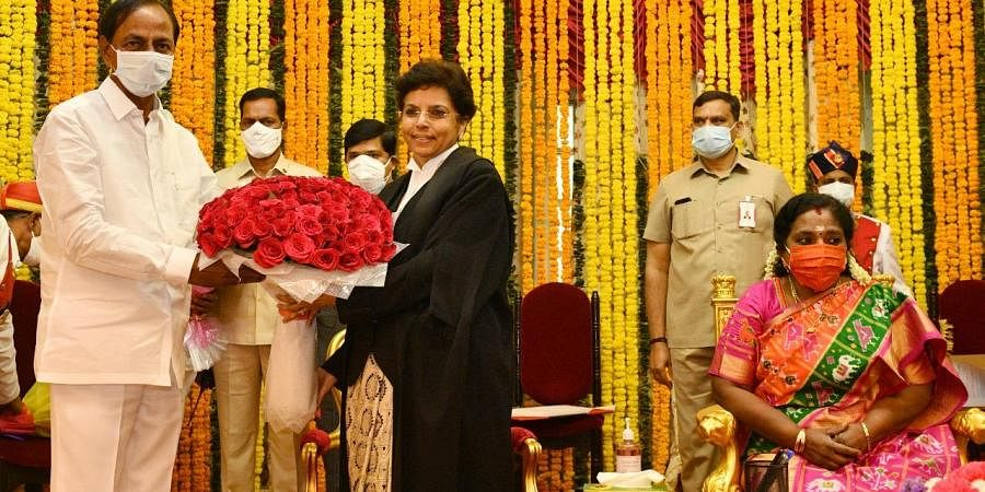 Justice Himaa Kohli sworn in as Telangana High Court Chief Justice. (Photo| EPS)