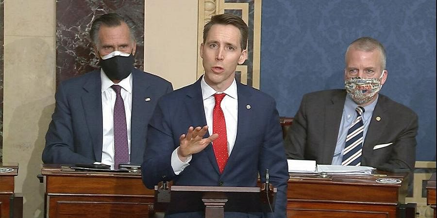 Josh Hawley speaks as the Senate reconvenes to debate the objection to confirm the Electoral College Vote from Arizona. (Photo  AP)