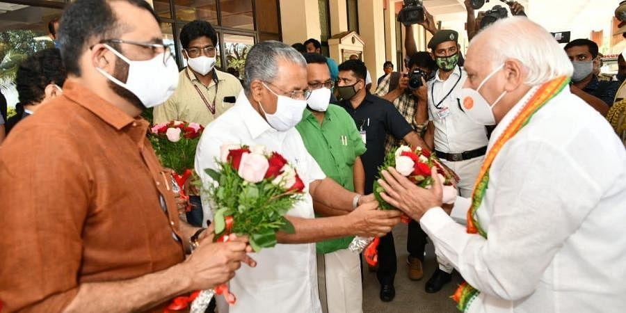 CM Pinarayi Vijayan greets Governor Arif Mohammed Khan before his policy address in Kerala Assembly.