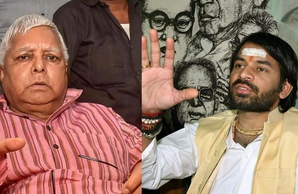 Minutes after Lalu's return to Patna, son Tej Pratap sits on a dharna