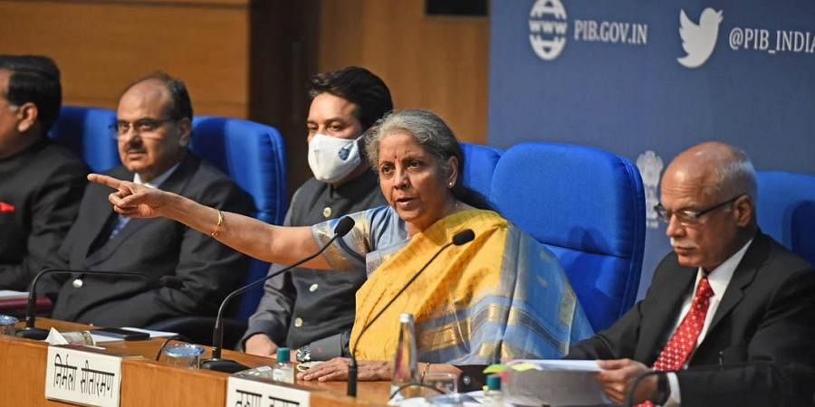 Union Finance Minister Nirmala Sitharaman speaks during the post-budget press conference, at National Media Centre in New Delhi. (Photo | Parveen Negi, EPS)