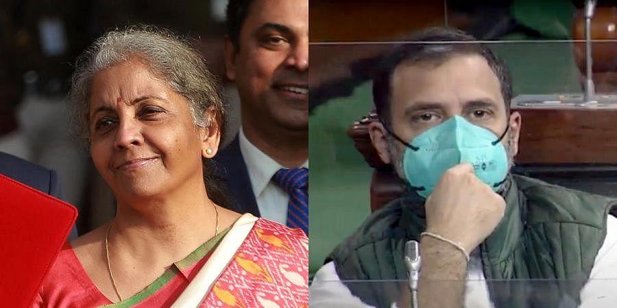 Finance Minister Nirmala Sitharaman (L) and Congress leader Rahul Gandhi