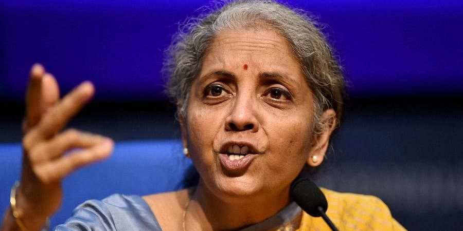 Union Finance Minister Nirmala Sitharaman speaks during the post-budget press conference, at National Media Centre in New Delhi. (Photo | PTI