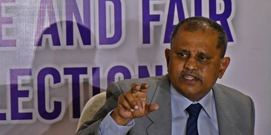 Andhra Pradesh Election Commissioner Nimmagadda Ramesh Kumar during press conference at EC's office in Vijayawada on Wednesday.