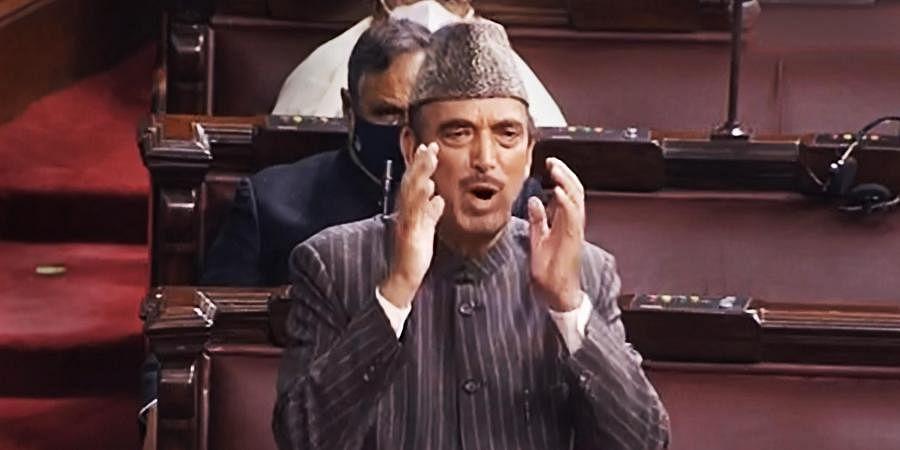 Congress MP Ghulam Nabi Azad speaking at the  Rajya Sabha (File Photo | PTI)