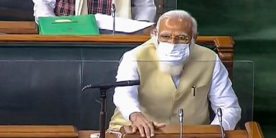 Prime Minister Narendra Modi in the Lok Sabha during the ongoing Budget Session of Parliament in New Delhi