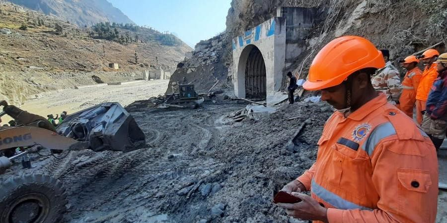 Rescue work going on near Tunnel at Tapovan Joshimath in Uttrakhand on Wednesday.