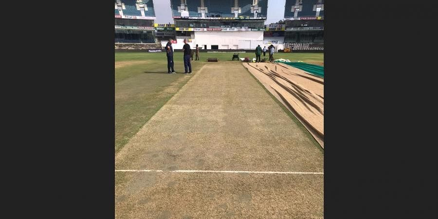 The pitch to be used for the second Test at MA Chidambaram Stadium.
