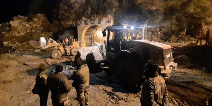 Rescue work going on near Tunnel at Tapovan Joshimath in Uttrakhand.