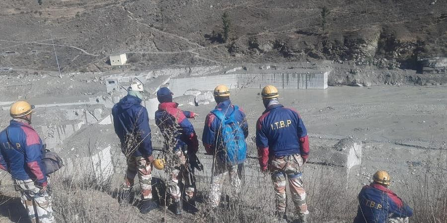 Rescue work going on near Tunnel at Tapovan in Uttrakhand on Thursday.
