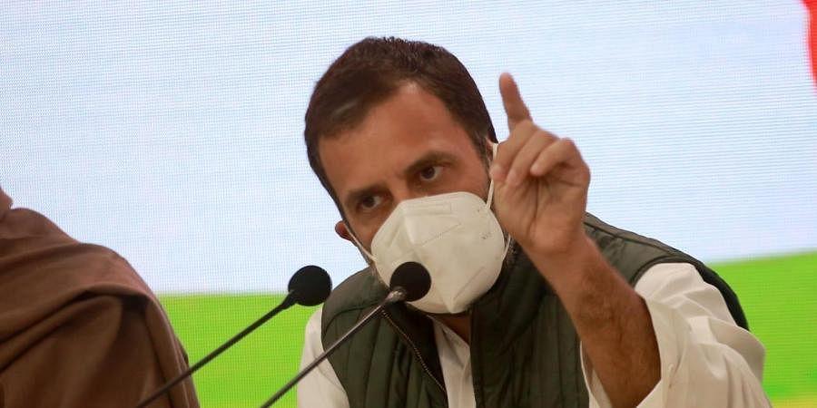 Rahul Gandhi addresses a press conference. (Photo | Shekhar Yadav, EPS)