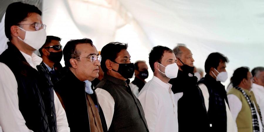 Congress leader Rahul Gandhi during a 'Kisan Mahapanchayat' in support of farmers' agitation against the farm laws in Nagaur district Saturday Feb. 13 2021.