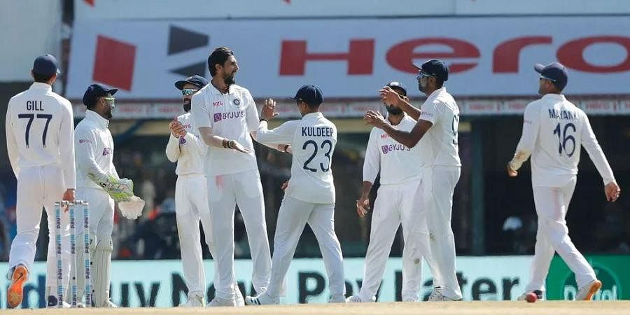 Indian cricket team players celebrate taking a wicket at M.A. Chidambaram Stadium ,in Chennai. (Photo | BCCI)