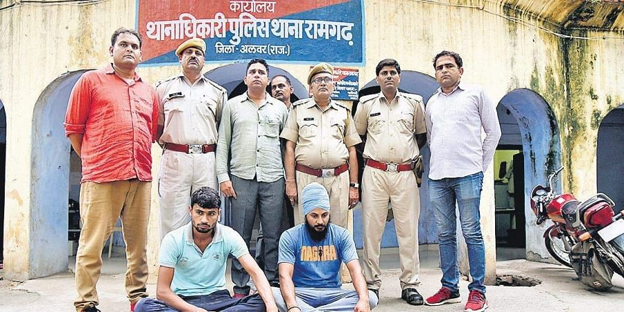 A file photo of police with the accused in the Alwar lynching case. (Photo | Parveen Negi, EPS)