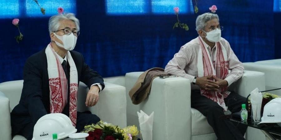 Japanese Ambassador to India Satoshi Suzuki (L) and External Affairs minister S Jaishankar