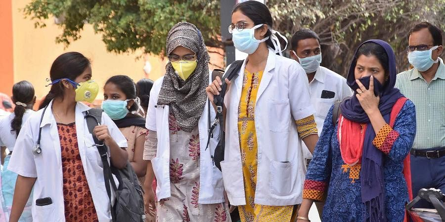 Medical staff at Gandhi Hospital in Hyderabad.