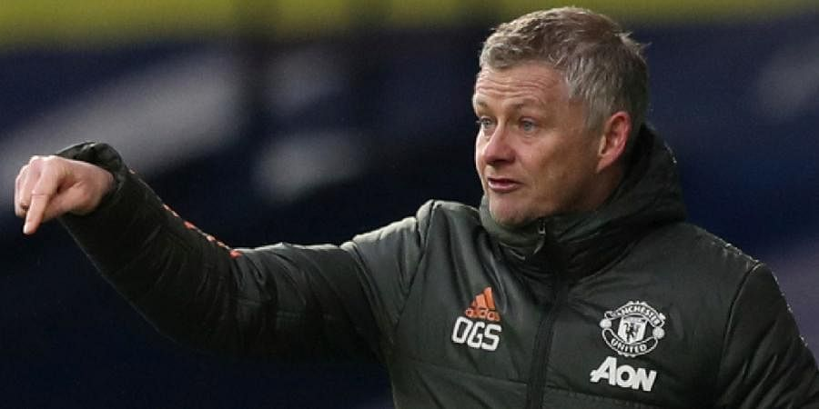 Manchester Unitedmanager Ole Gunnar Solskjaergives instructions from the sideline during the EPL match against West Bromwich Albion at the Hawthorns stadium.
