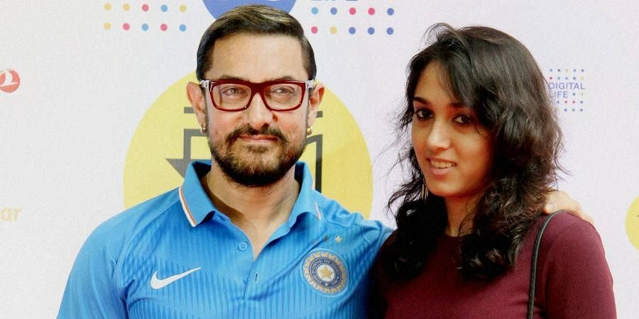 Bollywood actor Aamir Khan with his daughter Ira Khan