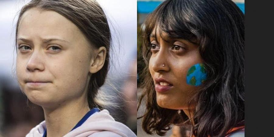 Climate Greta Thunberg (L) and 21-year-old Disha Ravi (R)