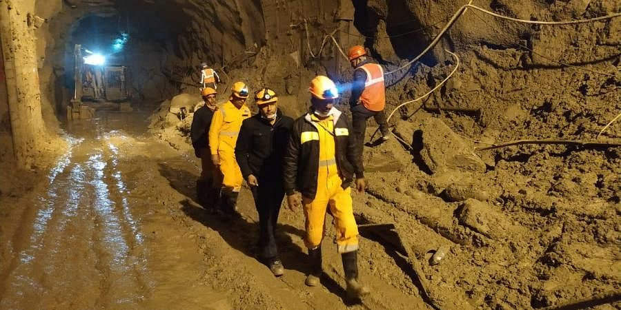 Rescue operation underway at Tapovan tunnel in Joshimath, Uttrakhand on Tuesday.