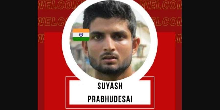 TEAM: RCB | PLAYER NAME: Suyash Prabhudessai | ROLE: ALL‐ROUNDER | BASE PRICE: Rs 20 Lakh | PAID PRICE: Rs 20 Lakh