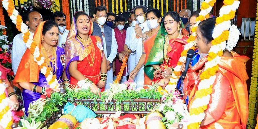 Maharashtra CM Uddhav Thackeray and his deputy Ajit Pawar visit the birthplace of Maratha warrior Chhatrapati Shivaji Maharaj at Shivneri Fort in Pune Friday