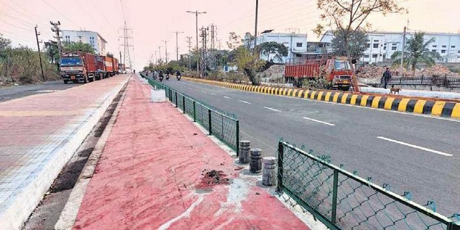 Barricades erected along cycle track at Patia in Bhubaneswar.