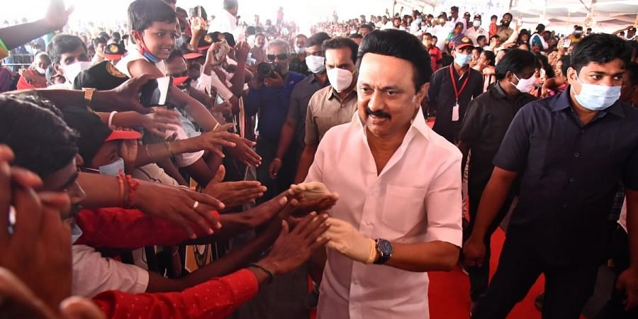 DMK President M K Stalin during  'Ungal Thogudhiyil Stalin' election campaign in Coimbatore. (Photo   A Raja Chidambaram, EPS)