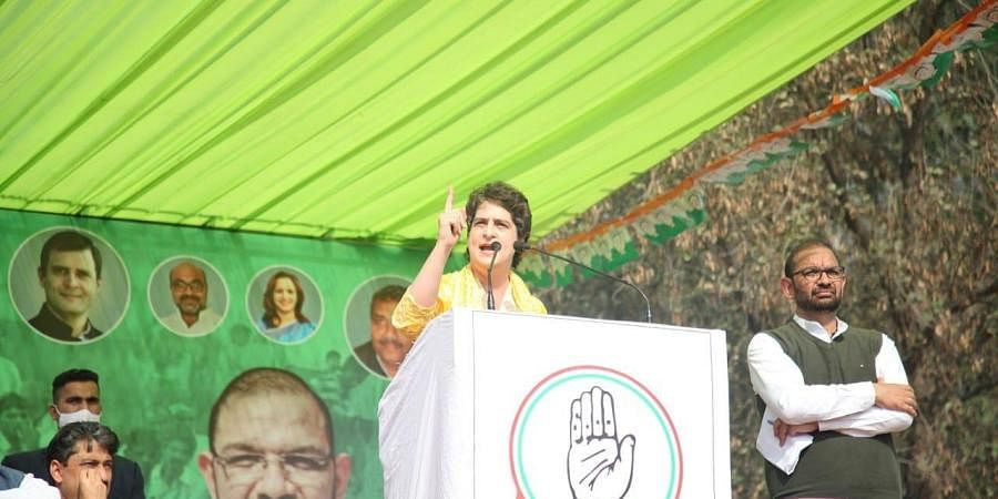 Congress leader Priyanka Gandhi at Kisan Mahapanchayat in Uttar Pradesh(Photo| Twitter/ @INCIndia)