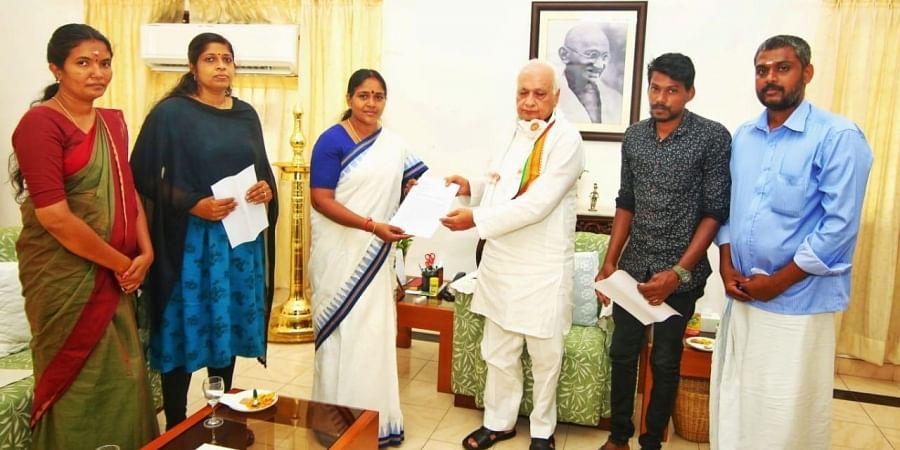 BJP state vice-president Sobha Surendran handing over a petition to GovernorArif Mohammed Khan at Raj Bhavan inThiruvananthapuram on Friday   Express