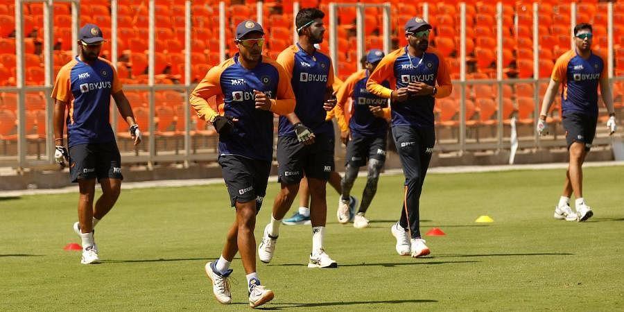 The Indian cricket team practice at Sardar Patel Stadium in Motera