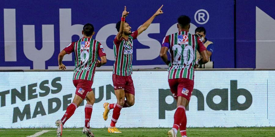 Manvir Singh of ATKMB celebrates a goal during the 7th season of the Hero Indian Super League between Hyderabad FC and ATK Mohun Bagan. (Photo | PTI)