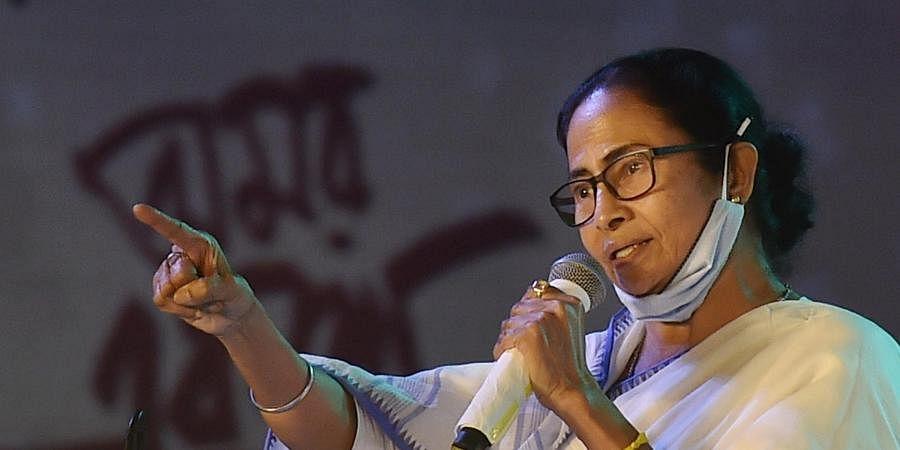 Mamata Banerjee addresses an event to mark International Mother Language Day, in Kolkata,