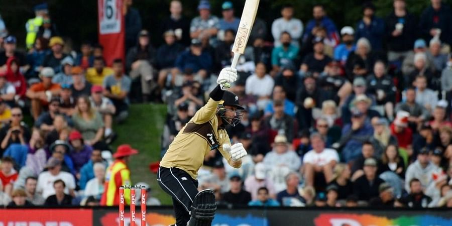 New Zealand's Devon Conway bats during the first Twenty20 cricket match between New Zealand and Australia. (Photo | AP)