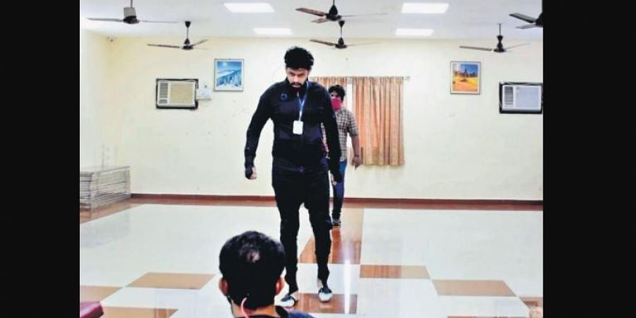 Varun and Aravind Akash on the sets of Logam