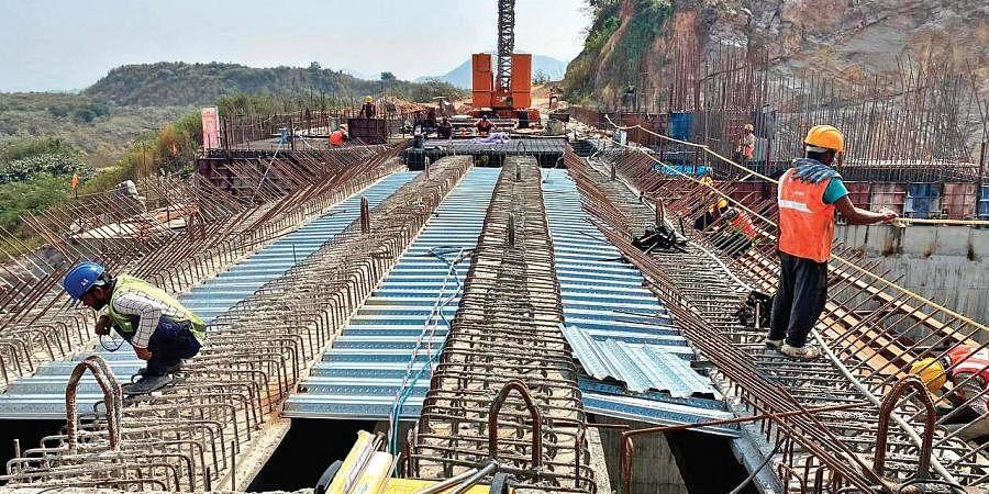 Polavaram project works underway.