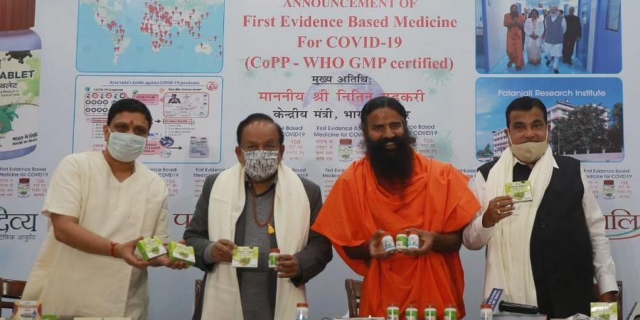 Baba Ramdev releases what he claims is the first 'evidence-based' medicine for COVID-19 by Patanjali in the presence of Union Health Minister Dr Harsh Vardhan and Union Minister Nitin Gadkari.