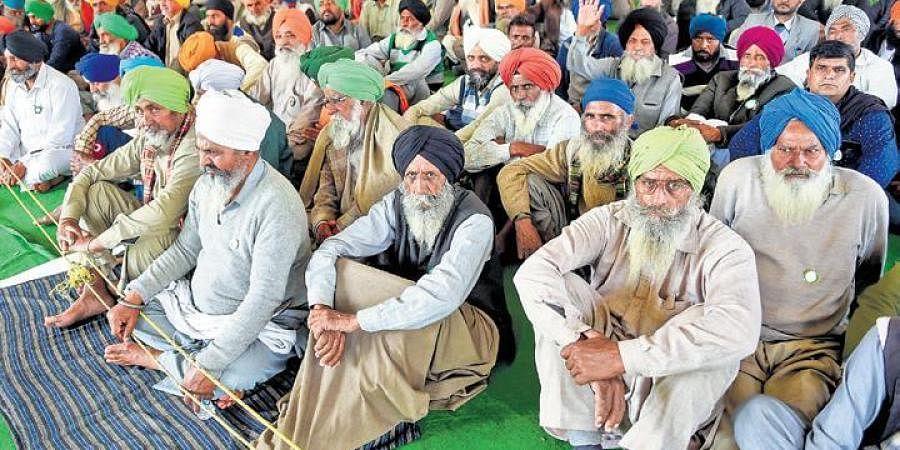 Farmers at Singhu border during their protest against farm laws.