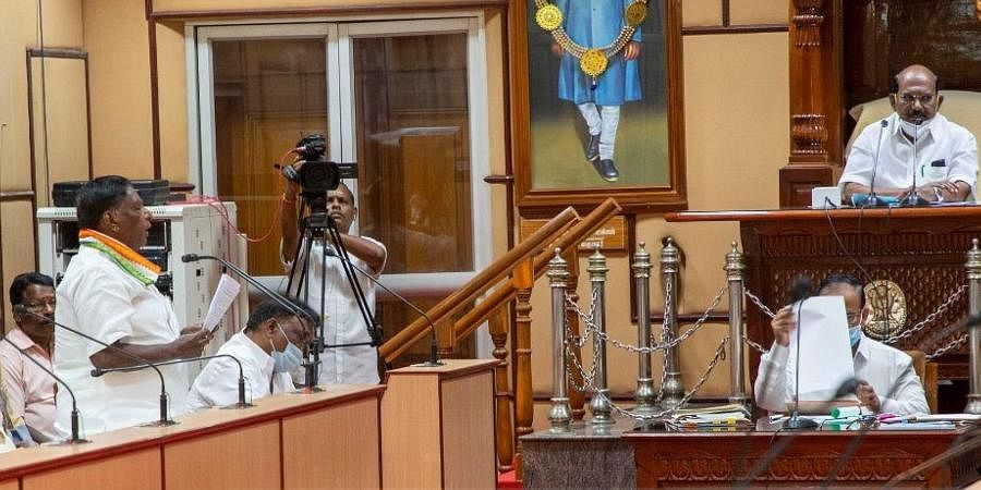 Puducherry CM V Narayanasamy speaks during the special Assembly session.