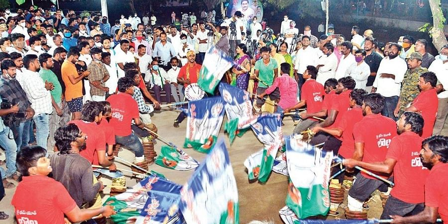 YSRC activists celebrate the victory of party-backed candidates in the fourth phase of panchayat elections, at the party central office in Tadepalli on Sunday.