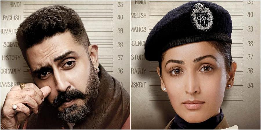 Abhishek Bachchan (L) and Yami Gautam in 'Dasvi'