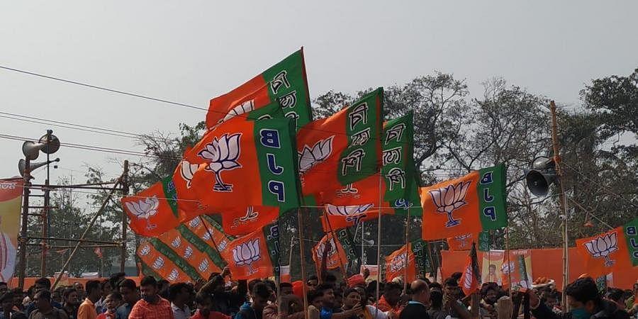 BJP flags. (Photo| EPS)