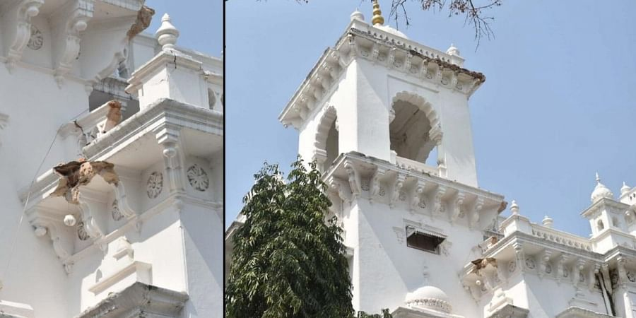 The damaged portion of the old assembly building in Hyderabad. (Photo | S Senbagapandiyan, EPS)