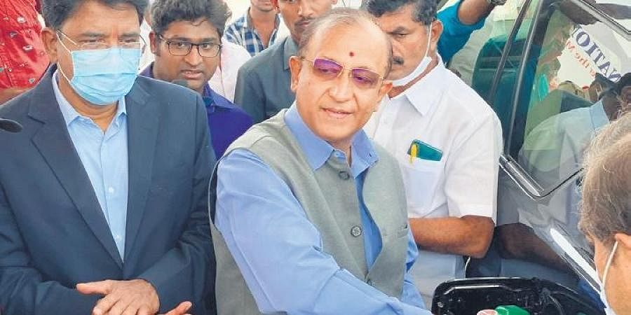 Director General of State Jails Rajiv Trivedi inaugurates a My Nation fuel station on National Highway-163 on Monday.