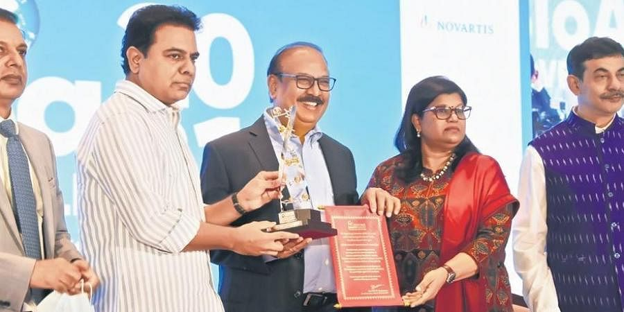 IT Minister KT Rama Rao presents the Genome Valley excellence award to Krishna and Suchitra Ella of Bharat Biotech at the inauguration of BioAsia 2021 in Hyderabad on Monday.