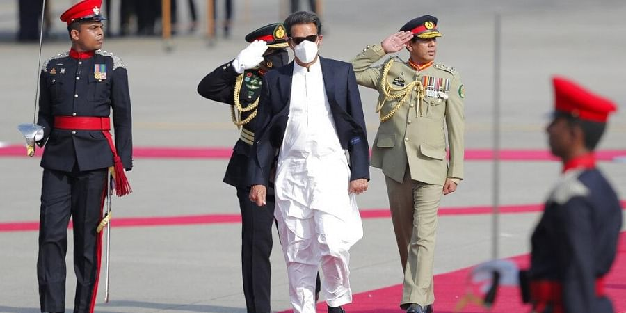Pakistan's Prime Minister Imran Khan inspects a Guard of Honor upon his arrival in Colombo, Sri Lanka, Tuesday, Feb. 23, 2021. (Photo | AP)