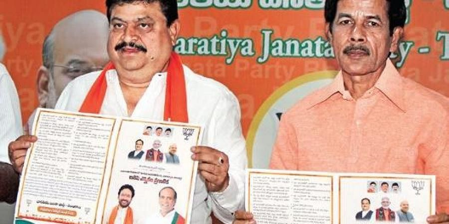 BJP MLC contestant N  Ramchander Rao releases party manifesto for civil polls in Hyderabad on Sunday.