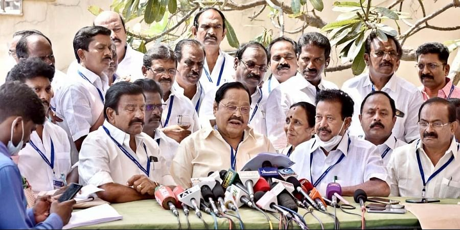 DMK's Durai Murugan speaks after walking out of the Assembly. (Photo | P Jawahar, EPS)