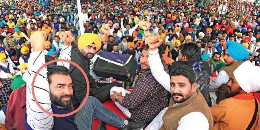 Lakha Sidhana (circled), wanted in connection with the January 26 violence, at a rally in Bathinda on Tuesday.