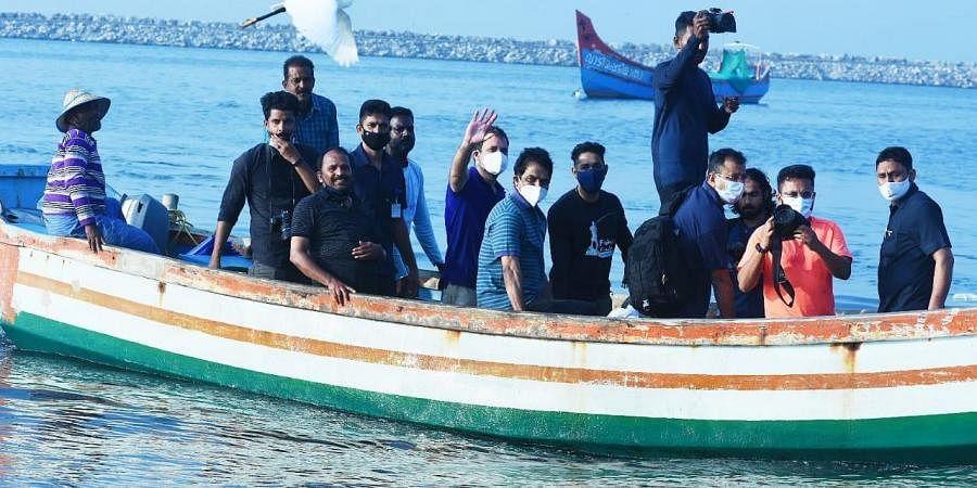 Wayanad MP Rahul Gandhi at Vadi shore after his boat ride into the sea